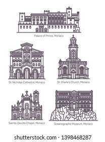 Monaco architecture landmarks in thin line. Isolated building of oceanographic museum, Saint Charles church and St. Nicholas cathedral, Sainte Devote chapel, Princes Palace. Monte Carlo architecture
