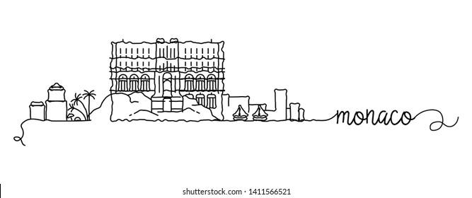 Monaco City Skyline Doodle Sign