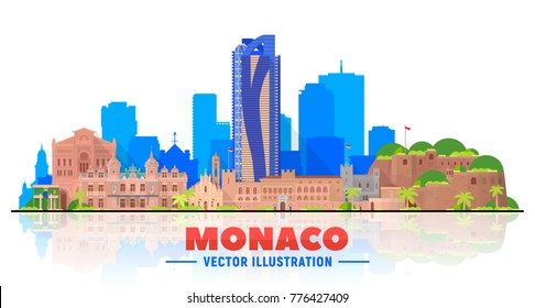 Monaco city skyline with panorama on white background. Vector Illustration. Business travel and tourism concept with old buildings. Image for presentation, banner, web site.