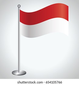 Monaco Flag with Metal Pole. Vector illustration