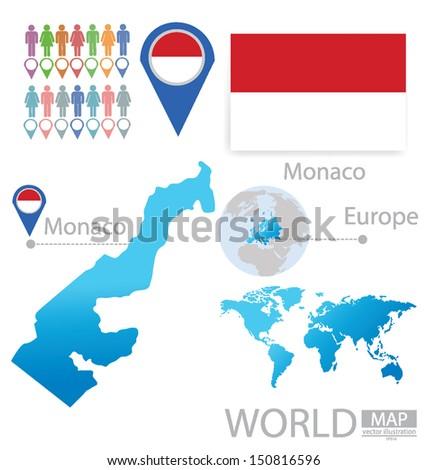 Monaco Flag World Map Vector Illustration Stock Vector Royalty Free