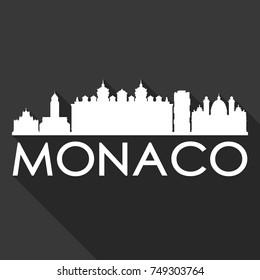 Monaco Flat Icon Skyline Silhouette Design City Vector Art Famous Buildings.