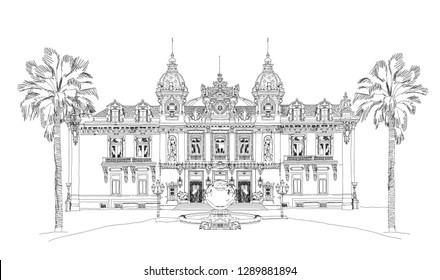 Monaco Grand Casino. Monte Carlo. Sketch collection.
