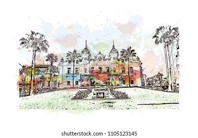 Monaco Monte Carlo. Watercolor splash with Hand drawn sketch illustration in vector.