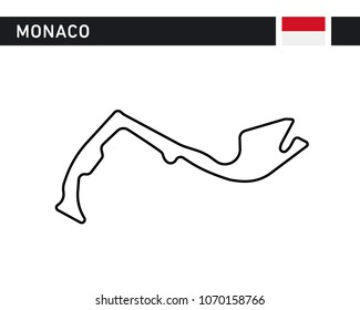 Monaco race track, circuit for motorsport and auto sport. Vector illustration road.