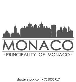 Monaco Skyline Silhouette Design City Vector Art Famous Buildings