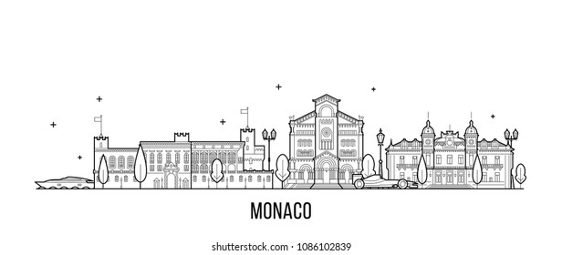 Monaco skyline. This illustration represents the city with its most notable buildings. Vector is fully editable, every object is holistic and movable