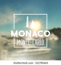 Monaco travel print over blurred background. Vector illustration.