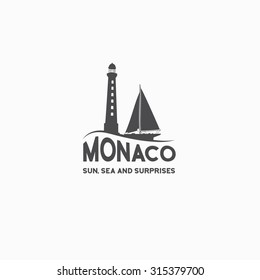 Monaco travel print over white background. Vector illustration.