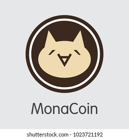 Monacoin - Digital Currency Simbol. Vector illustration of Cryptocurrency Icon on Grey Background. Vector Trading sign: MONA