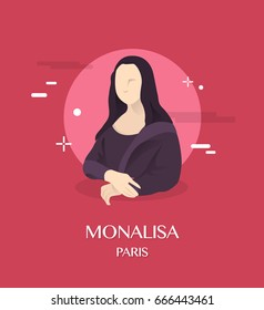 Monalisa illustration in Paris background
