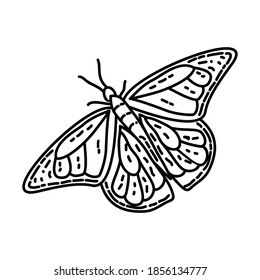 Monarch Butterfly Icon. Tropical Animal Hand Drawn Icon Set Vector.