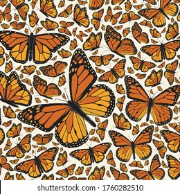 Monarch Flying Butterflies Pattern Composition