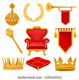 Monarchy attributes set, golden orb, laurel wreath, trumpet, throne, scepter, ceremonial pillow, crown, flag, heraldic symbols vector Illustration on a white background