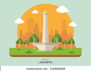 Monas vector icon infographic, National Monument of Indonesia, the landmark illustration of Jakarta city