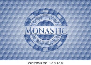 Monastic blue emblem with geometric pattern background.