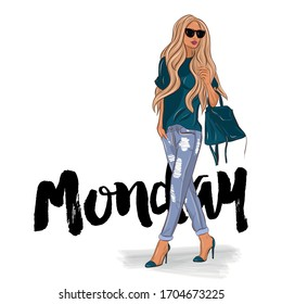 Monday - Hand drawn beautiful young woman with high heels. Stylish girl boss with sunglasses. Fashion model woman look. Handdrawn sketch. Vector illustration.