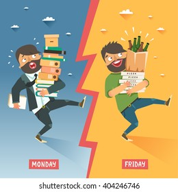 Monday vs Friday concept. Overwhelmed businessman with pile of papers and folders VS happy relaxing young man with pile of pizzas and beer bottles. Vector colorful illustration in flat style
