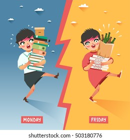 Monday vs Friday concept. Overwhelmed businesswoman with pile of papers and folders VS happy relaxing young woman with pile of pizzas and beer bottles. Vector colorful illustration in flat style