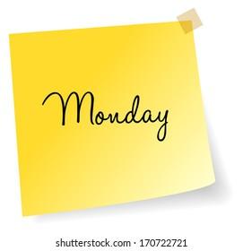 Monday Yellow Sticky Note