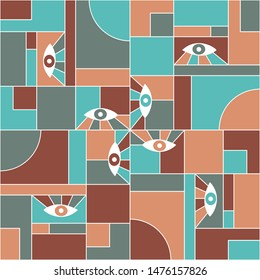 Mondrian bauhaus geometric seamless pattern with eyes. Minimal vector suprematism pattern fabric print. Geometric grid elements, open eyes bauhaus style seamless  poster background.