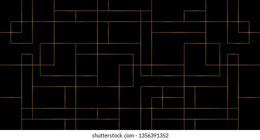Mondrian line pattern vector. Design overlap square shape gradient gold on black background. Design print for illustration, textile, wallpaper, background. Set 3