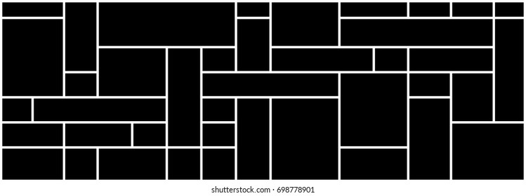 mondrian pattern design vector black background isolated