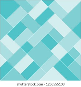 Mondrian pattern vector. Design diagonal square line tile cyan tone. Design print for illustrations, wallpaper, textile, background, banner.
