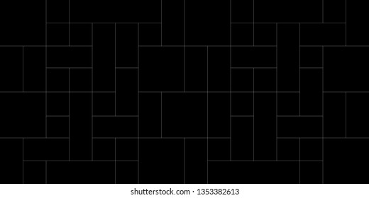 Mondrian pattern vector. Design landscape line square white on black background. Design print for illustrations, photo, collage, wallpaper, background. Set 2