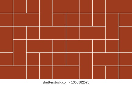 Mondrian pattern vector. Design line square white on brick red background. Design print for illustrations, photo, collage, wallpaper, background. Set 4