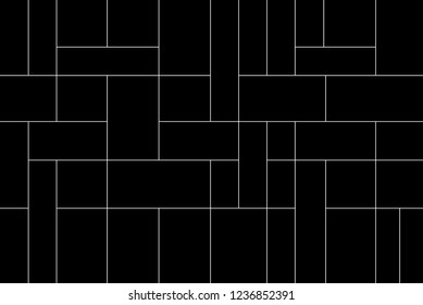 Mondrian pattern vector. Design lines random square white on black background. Design print for wallpaper, backdrop, screen, panels, paper. Set 2