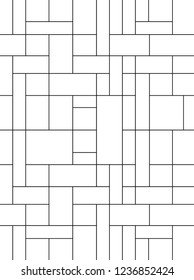 Mondrian pattern vector. Design lines random square black on white background. Design print for wallpaper, backdrop, screen, panels, paper. Set 3