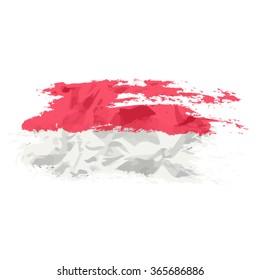 Monegasque flag painted by brush hand paints. Art flag. Monaco