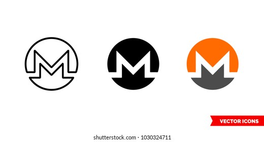 Monero icon of 3 types: color, black and white, outline. Isolated vector sign symbol.