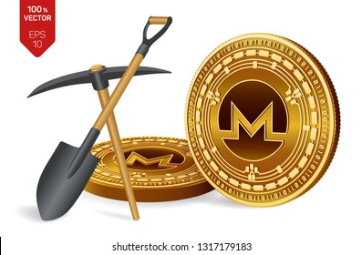Monero mining concept. 3D isometric Physical bit coin with pickaxe and shovel. Digital currency. Cryptocurrency. Golden Monero coins isolated on white background. Vector illustration.