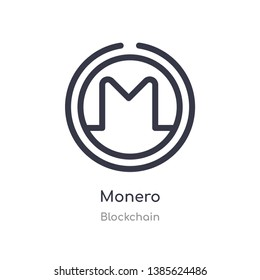 monero outline icon. isolated line vector illustration from blockchain collection. editable thin stroke monero icon on white background