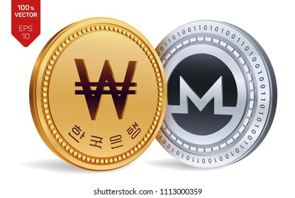 Monero. Won. 3D isometric Physical coins. Digital currency. Korea Won coin. Cryptocurrency. Golden and silver coins with Monero and Won symbol isolated on white background. Vector illustration.