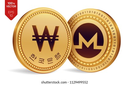 Monero. Won. 3D isometric Physical coins. Digital currency. Korea Won coin. Cryptocurrency. Golden coins with Monero and Won symbol isolated on white background. Vector illustration.