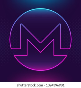 Monero XMR vector outline icon. Cryptocurrency, e-currency, payment crypto currency, blockchain button. Trendy Bright lighting logo adaptation design web site mobile app EPS. Ultra violet background.