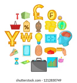 Monetary abundance icons set. Cartoon set of 25 monetary abundance vector icons for web isolated on white background