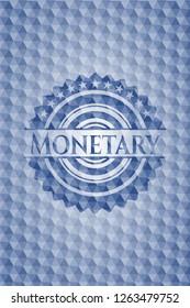 Monetary blue emblem with geometric pattern.