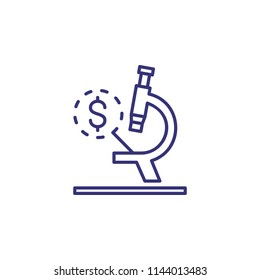 Monetary expertise line icon. Money, dollar, microscope. Finance concept. Can be used for topics like test, analysis, estimating, research