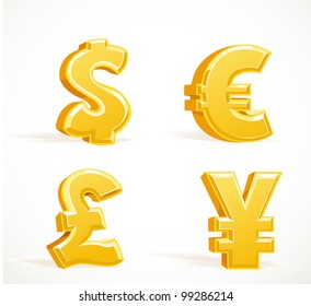Monetary gold signs - dollar, pound, euro and yen