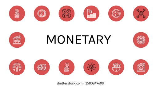 monetary icon set. Collection of Coin, Yen, Coins, Tokens icons