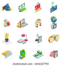 Monetary training icons set. Isometric set of 16 monetary training vector icons for web isolated on white background