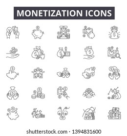 Monetization line icon signs. Linear vector outline illustration set concept.