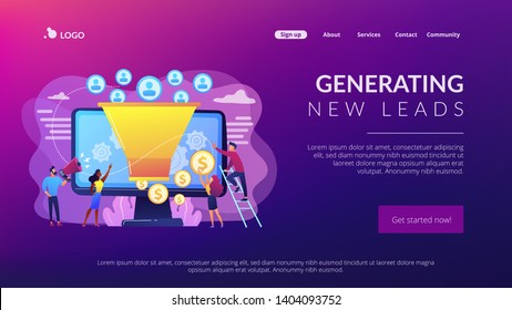 Monetization tips. Increasing conversion rates strategy. Attracting followers. Generating new leads, identify your customers, SMM strategies concept. Website homepage landing web page template.
