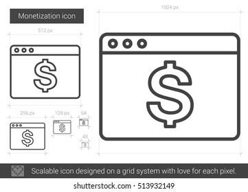 Monetization vector line icon isolated on white background. Monetization line icon for infographic, website or app. Scalable icon designed on a grid system.