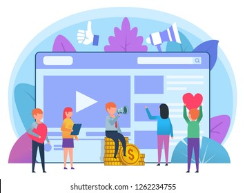 Monetize video blog concept. Small people stand near video page. Poster for social media, web page, banner, presentation. Flat design vector illustration