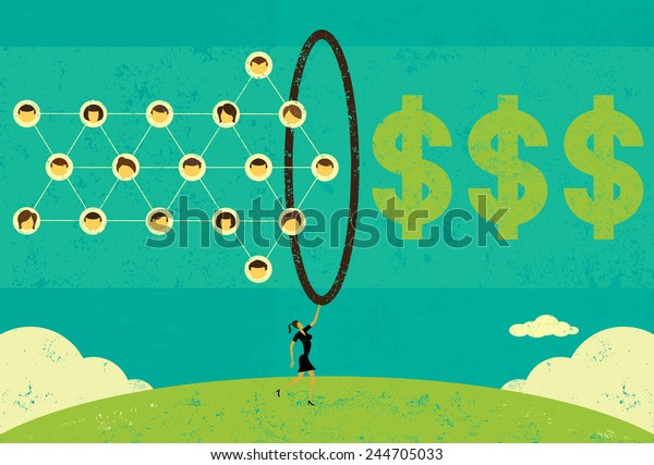 Monetizing Social Networks A businesswoman using a social network to make money. The businesswoman,social network, hoop, and dollar signs are on a separate layer from the background.